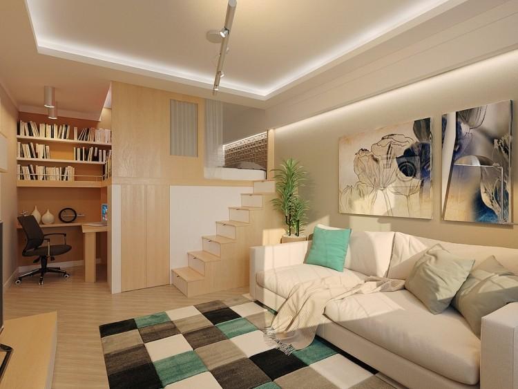 58 дизайн маленькой квартиры-студии 29 кв м белый диван двухэтажная кровать