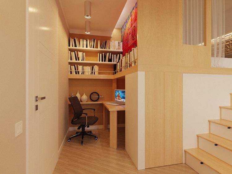 59 дизайн маленькой квартиры-студии 29 кв м рабочее место в нише светлое дерево непрямое освещение