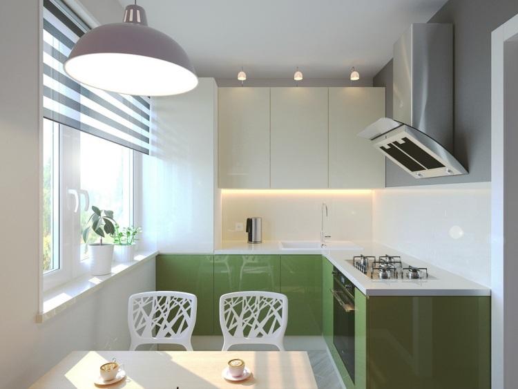 60 дизайн маленькой квартиры-студии 29 кв м кухня белый зеленый глянцевые фасады