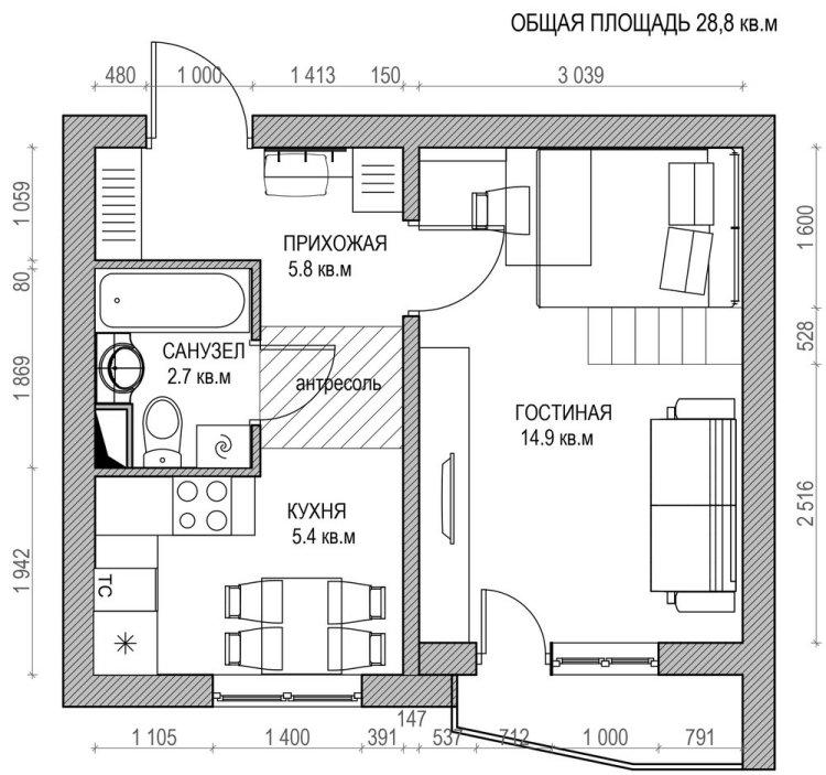 61 дизайн маленькой квартиры-студии 29 кв м план расстановки мебели