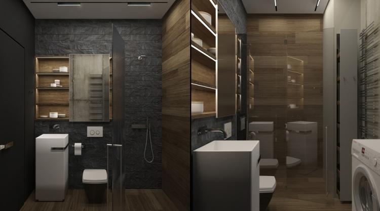 8 Маленькая функциональная ванная комната в антраците и темном дереве