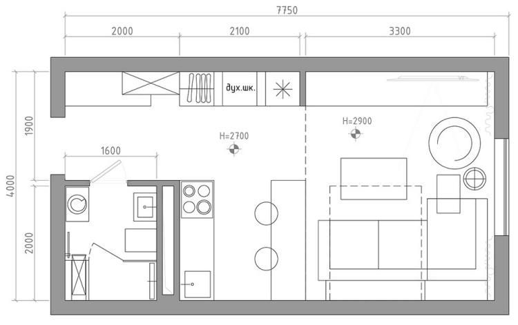 9 Дизайн-проект квартиры в 29 кв.м.