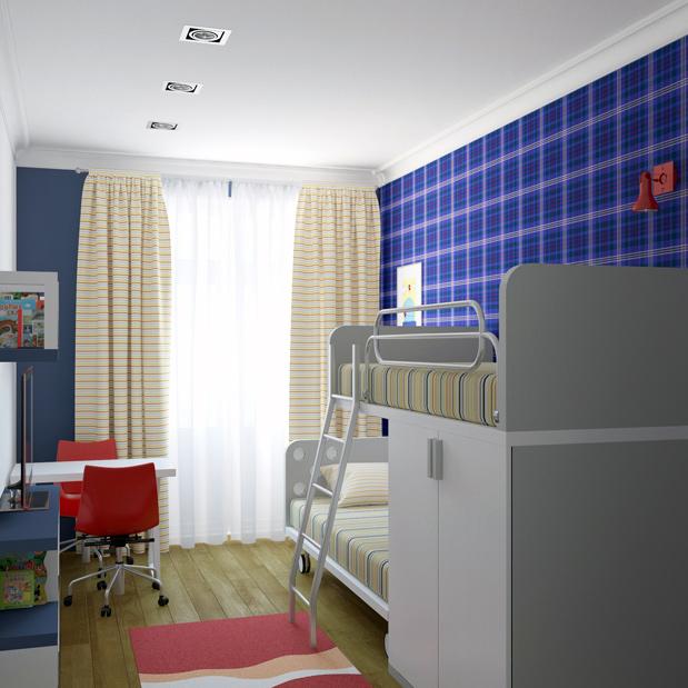 Детская синие стены двухъярусная кровать маленькая комната фото