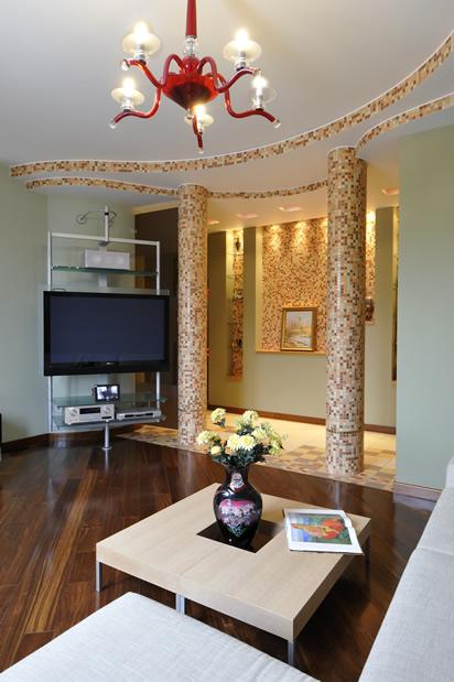 Длинный узкий коридор, совмещенный с гостиной фото