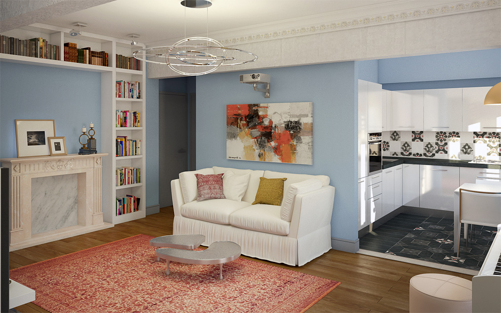 Гостиная в современном стиле камин книжные полки белый диван картина студия белая кухня фото