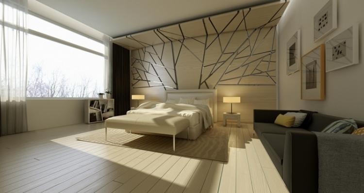 Красивая спальня с экстравагантными стеновыми панелями