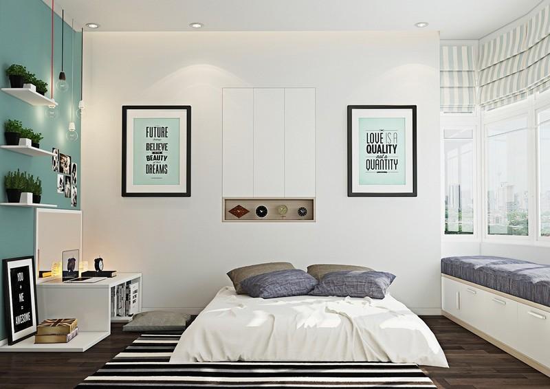 Красивая спальня в белом, сером и мятном цветах