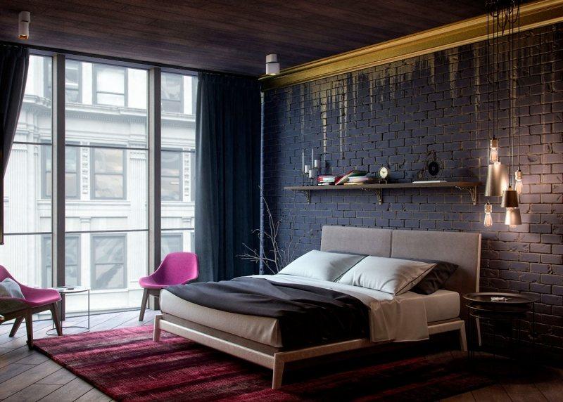 Современная спальня с элементами готического стиля