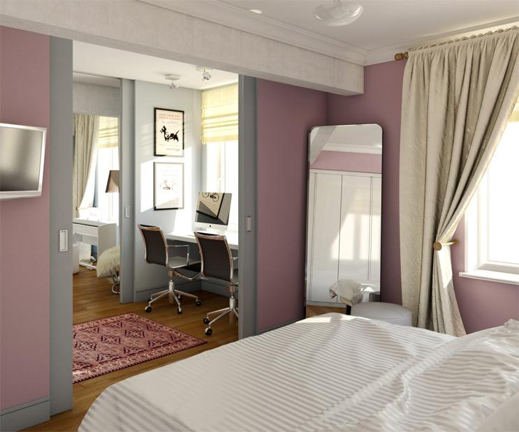 Спальня кабинет раздвижные двери фото