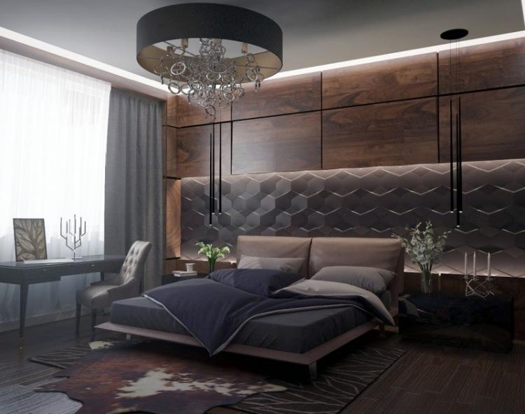 Элегантная спальня в оттенках темного шоколада