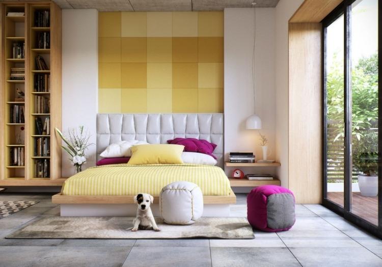 Желтая спальня с яркими цветовыми акцентами