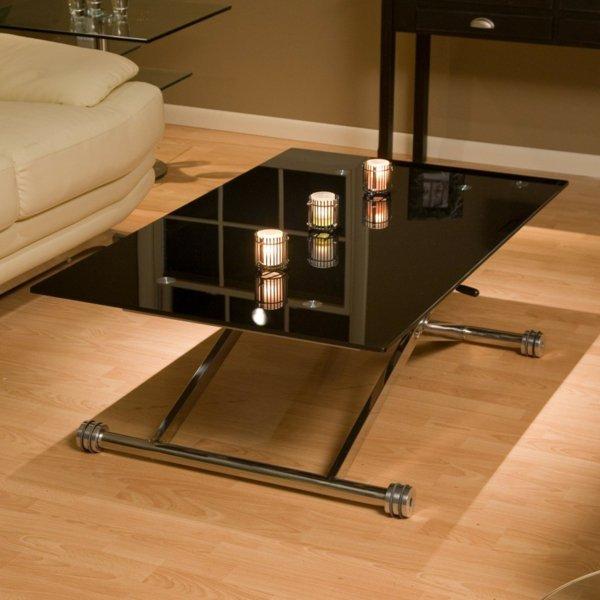 Журнальный столик с черным стеклом