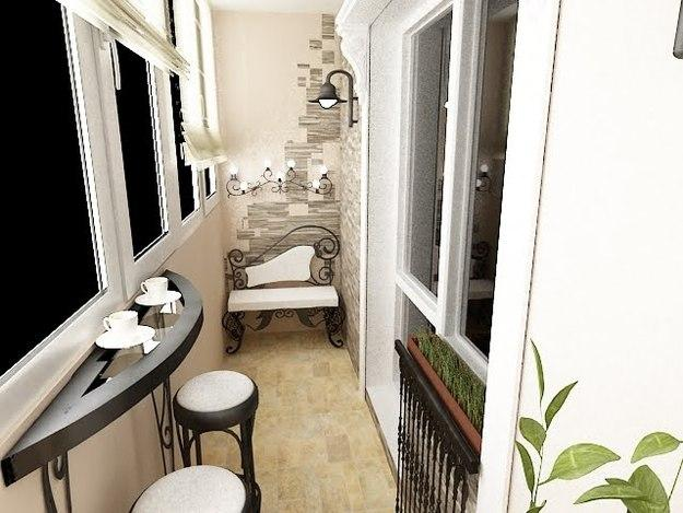 фото Дизайн балкона под парижское кафе