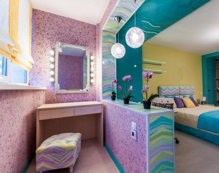 Дизайн детской комнаты с яркими жидкими обоями