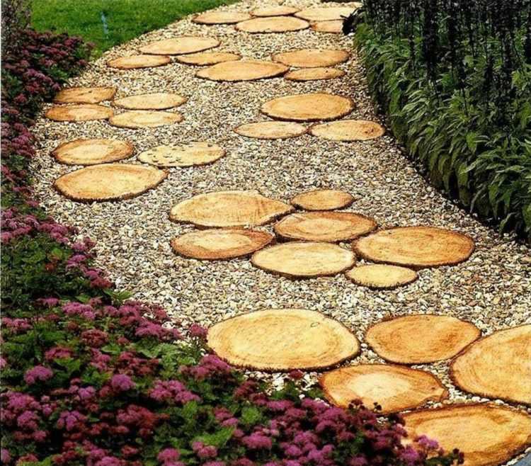 Дизайн садовой дорожки из спилов своими руками как сделать фото