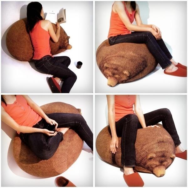 Кресло-мешок в виде спящего медведя
