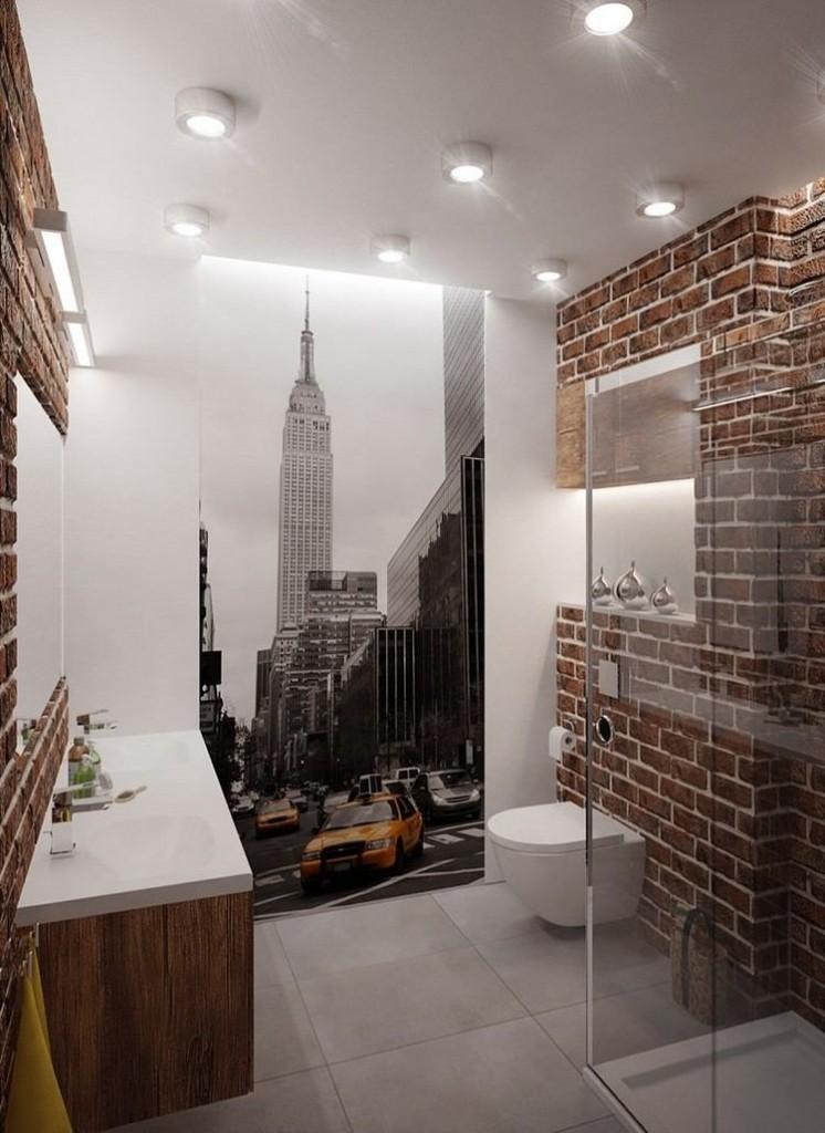 Маленькая ванная комната в стиле лофт черно-белые фотообои города в интерьере фото