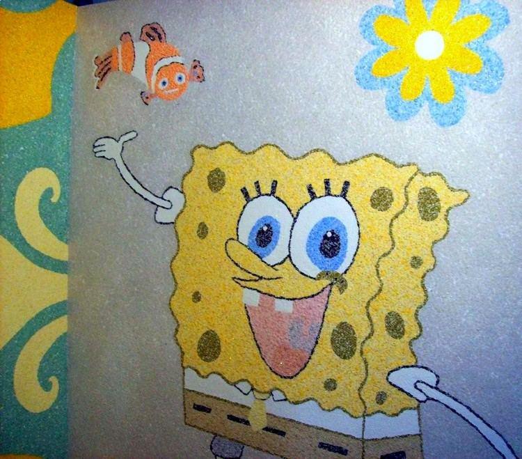 Варианты арт-дизайна жидкими обоями рисунок в детской