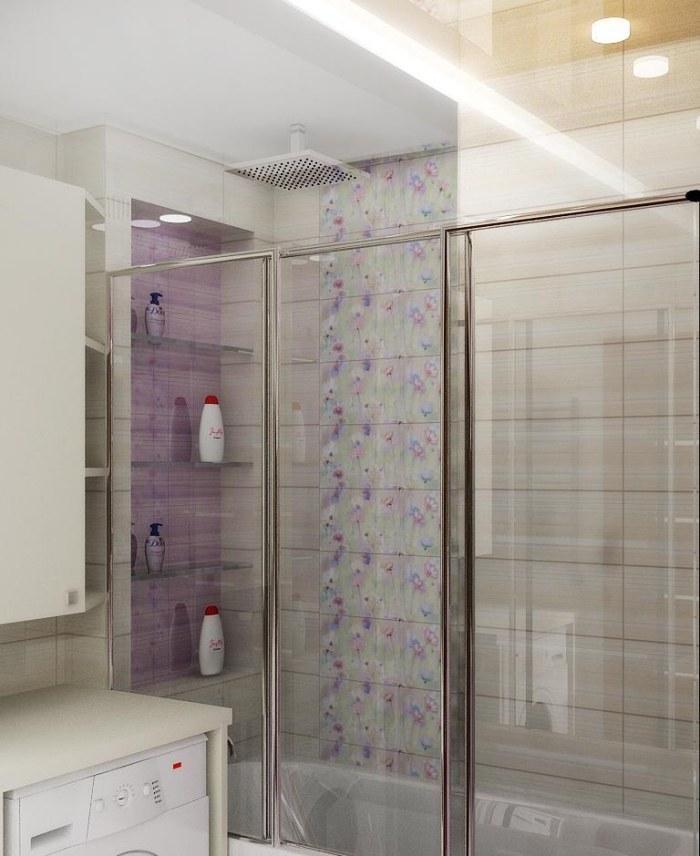 бежевая плитка для ванной с цветочным узором