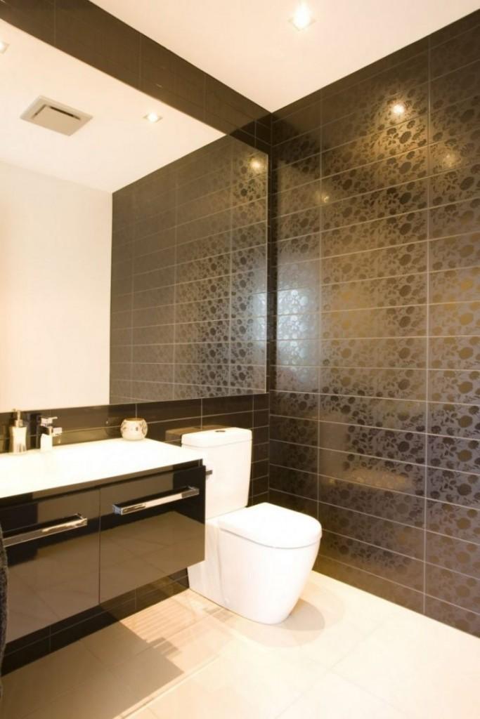 черная матовая плитка для ванной контрастное оформление