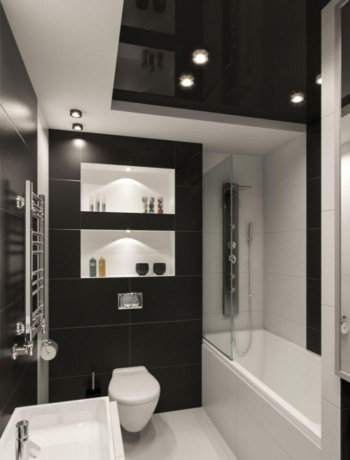 черно-белая плитка для ванной дизайн маленькая ванная