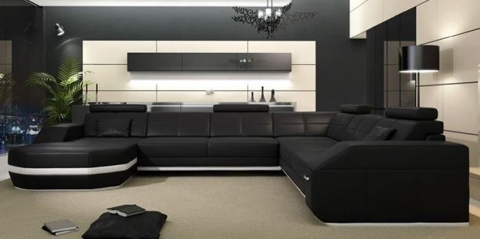 черный большой угловой диван для гостиной фото стильный элегантный