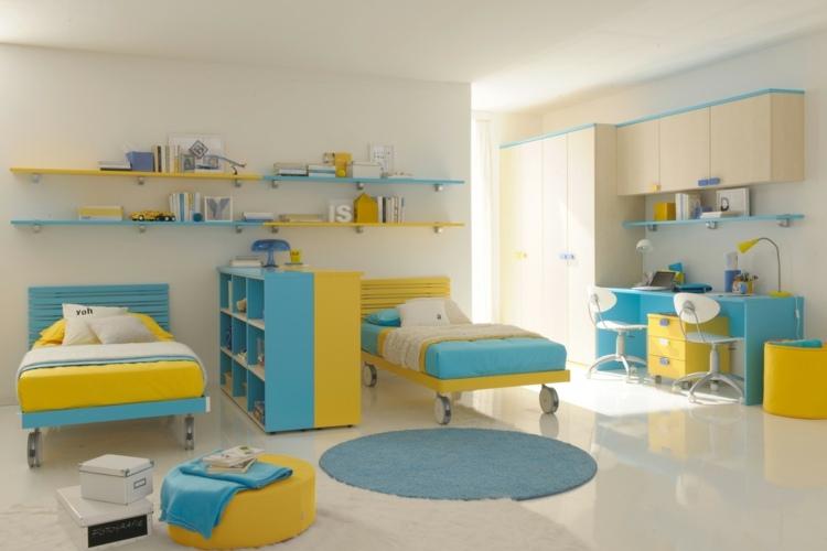 дизайн детской для двух разнополых детей фото желтый голубой