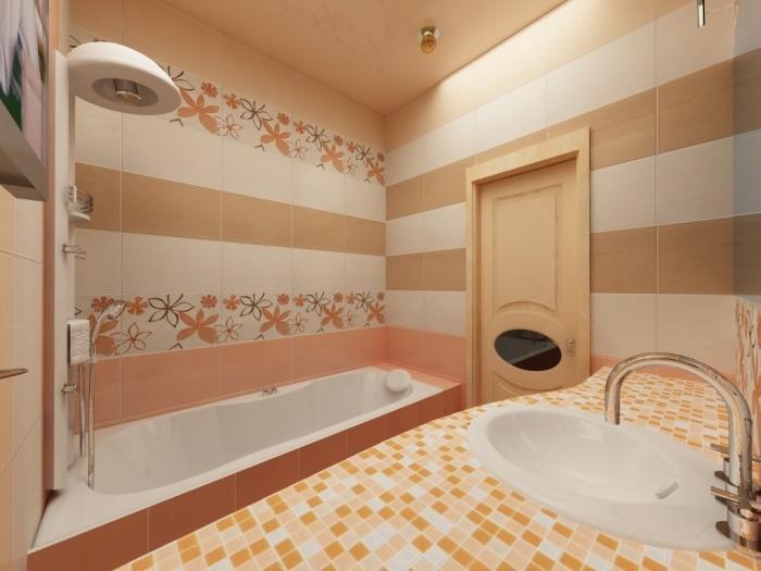 дизайн маленькая ванная оранжевая плитка для ванной