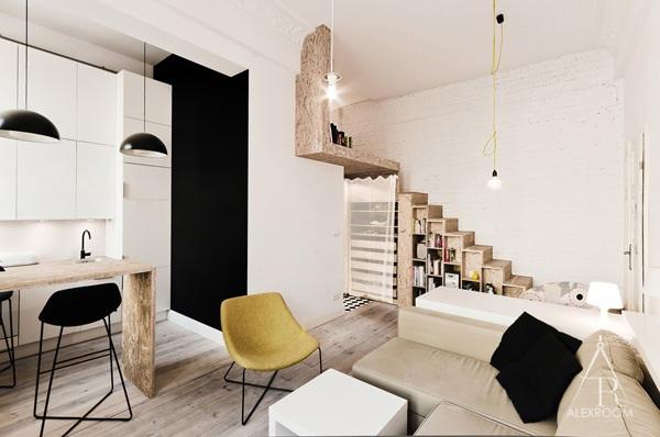 дизайн однокомнатной квартиры студии 20 кв м скандинавский стиль двухъярусная кровать для взрослых