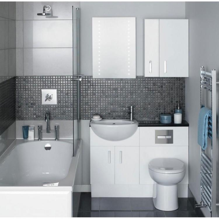 дизайн ванной комнаты белый цвет серая плитка-мозаика для ванной