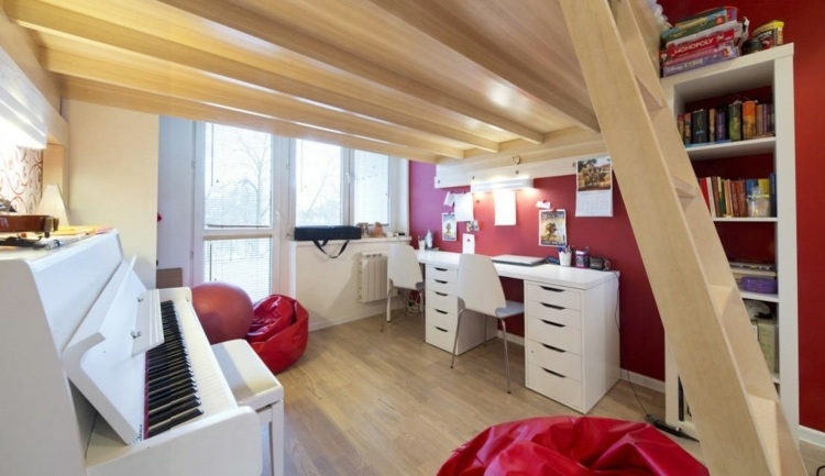 двухъярусная комната для двух детей фото интерьер лестница пианино