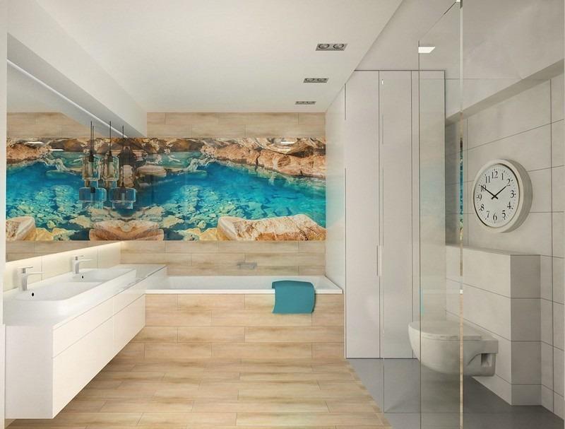 фотообои современный дизайн ванной комнаты белый дерево море скалы