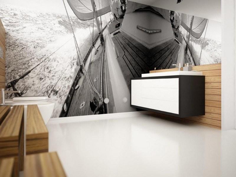 фотообои в дизайне интерьера черно-белые яхта море