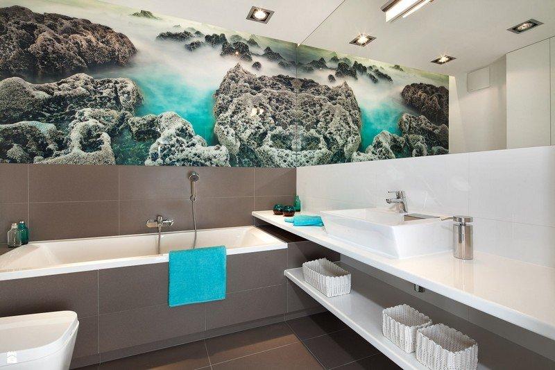 фотообои в ванной комнате скалы в интерьере фото
