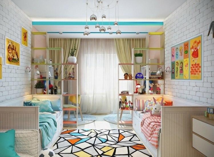 идея дизайна детской комнаты для двух разнополых детей фото