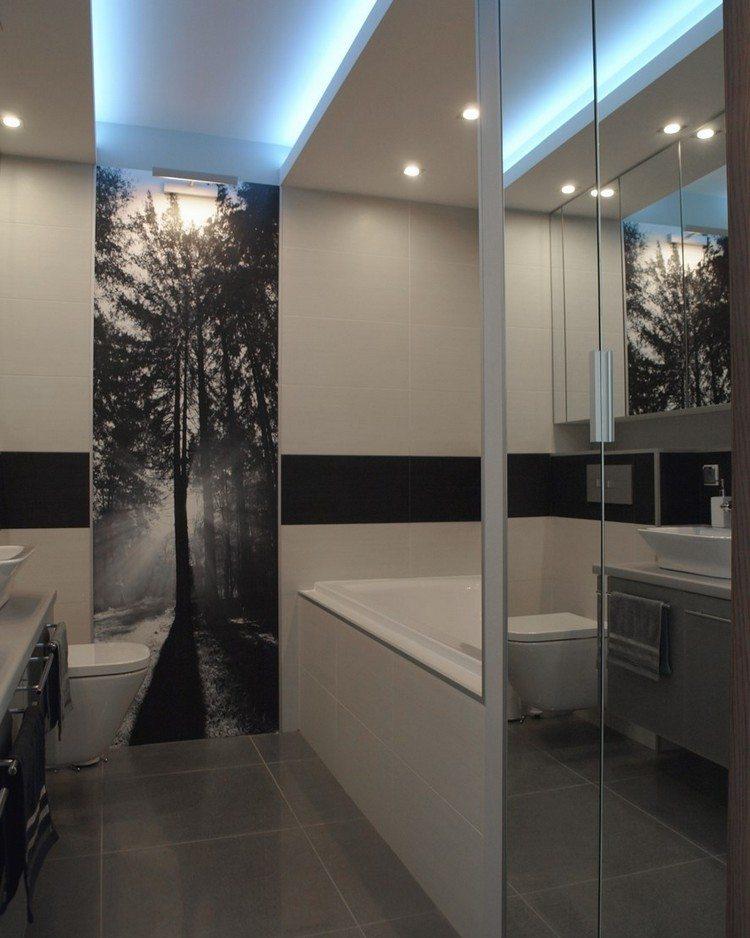 идея дизайна маленькой белой ванной комнаты фотообои черно-белые лес на рассвете