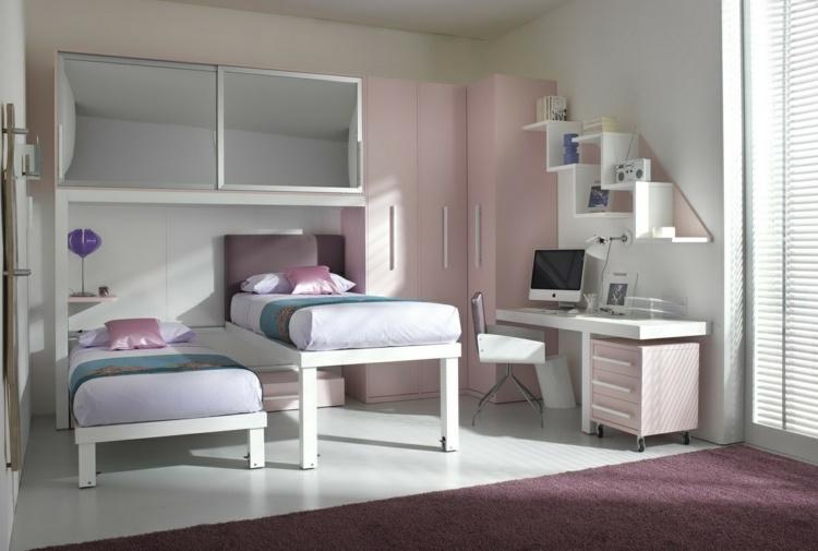 идея интерьера детской комнаты для двух девочек фото выдвижная кровать