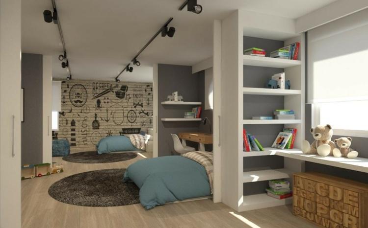 идея интерьера детской комнаты для двух мальчиков фото перегородка