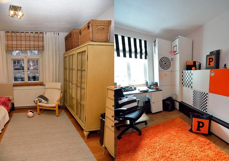 идея ремонта детской современный стиль белый черный оранжевый