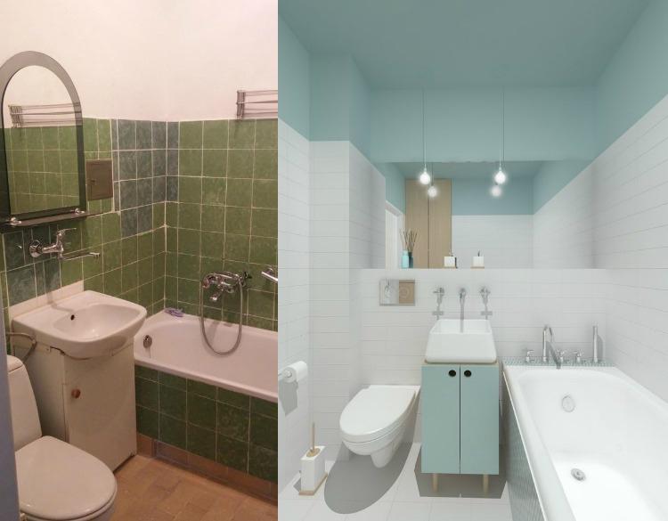 идея ремонта маленькой ванной фото до и после пастельные тона светло-голубой
