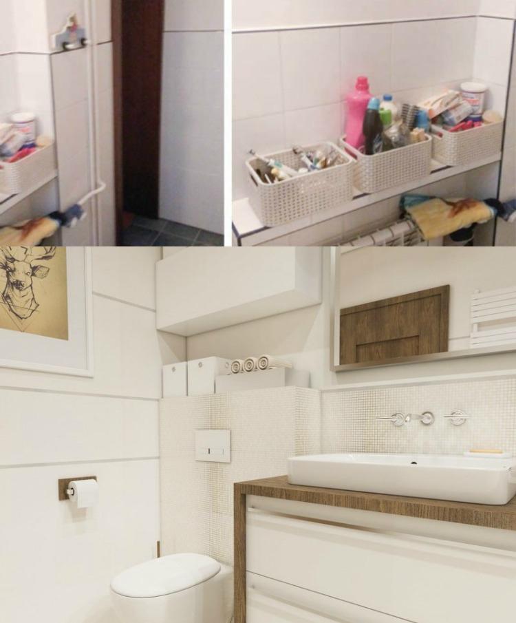идея ремонта маленькой ванной комнаты место для хранения фото до и после