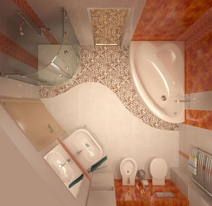 интерьер маленькой ванной комнаты в хрущевке кремовая и оранжевая плитка для ванной