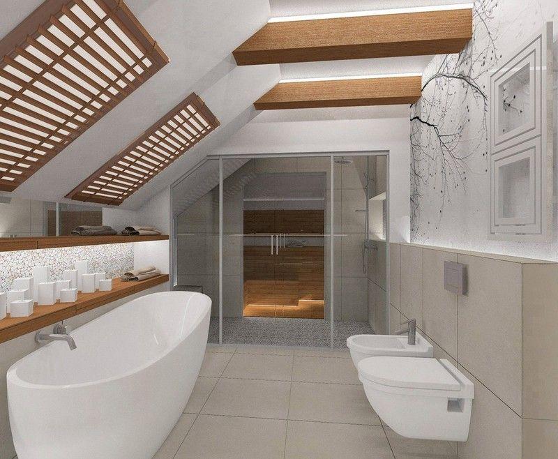интерьер мансардной ванной комнаты фотообои с ветками дерева черно-белые фото