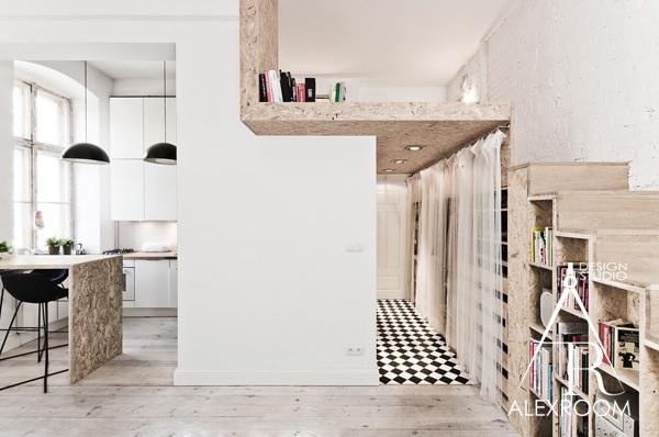 интерьер однокомнатной квартиры студии 30 кв м два яруса двухъярусная кровать для взрослых кухня хранение спальня