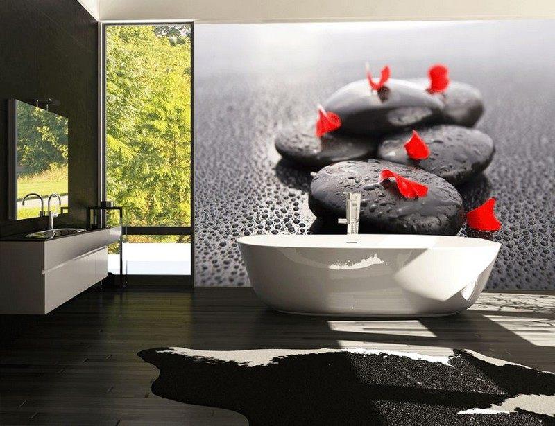 интерьер ванной комнаты черные фотообои камни фото