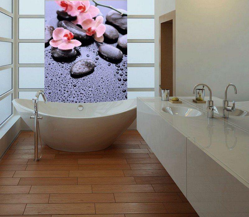 интерьер ванной комнаты фотообои орхидеи камни фото