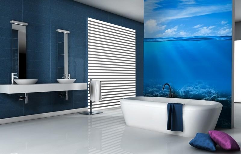 интерьер ванной комнаты голубые фотообои океан фото