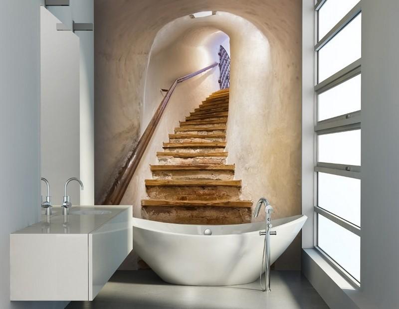 интерьер ванной комнаты маленького размера фотообои лестница фото