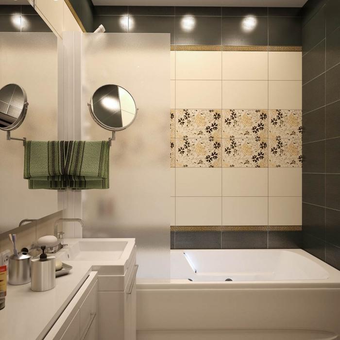 контрастные цвета в маленькой ванной плитка с цветочными узором