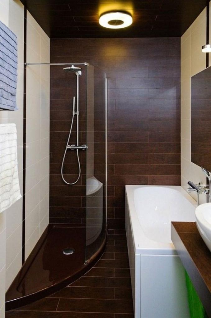 коричневая плитка для ванной под дерево маленькая ванная